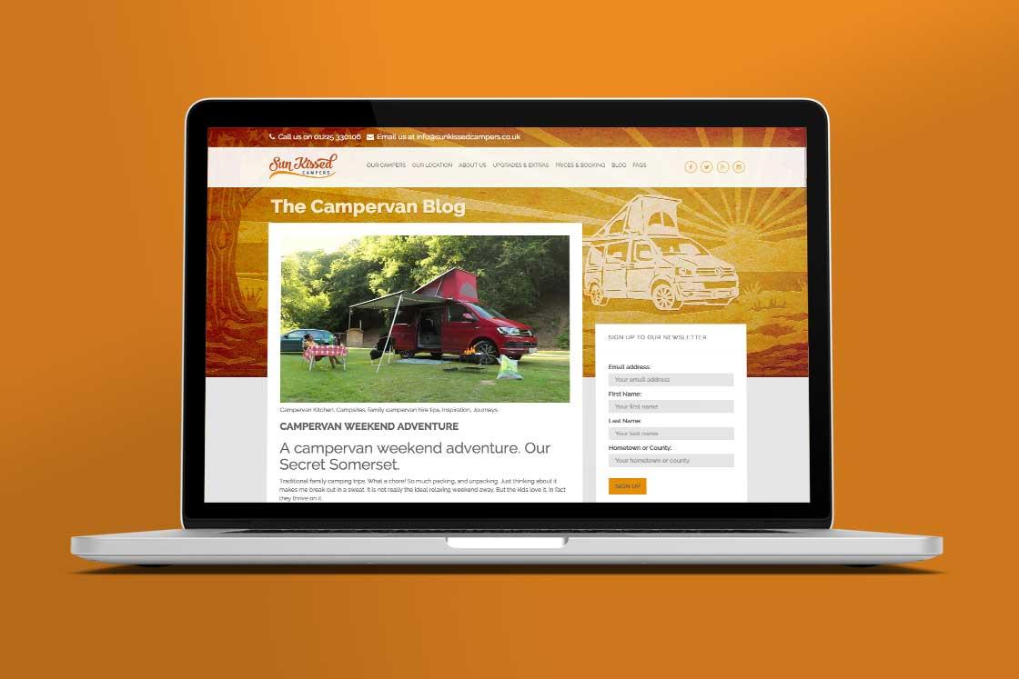Sun Kissed Campers website blog page design