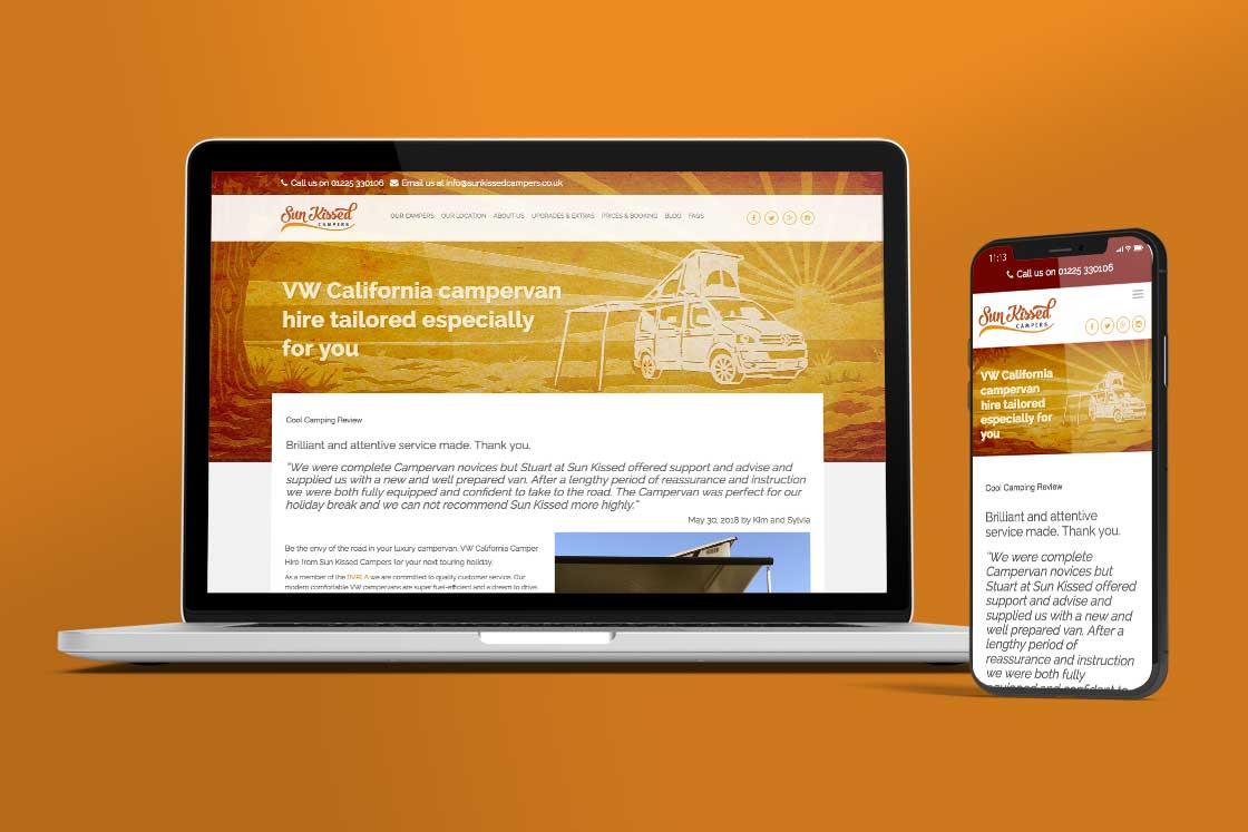 Sun Kissed Campers website design